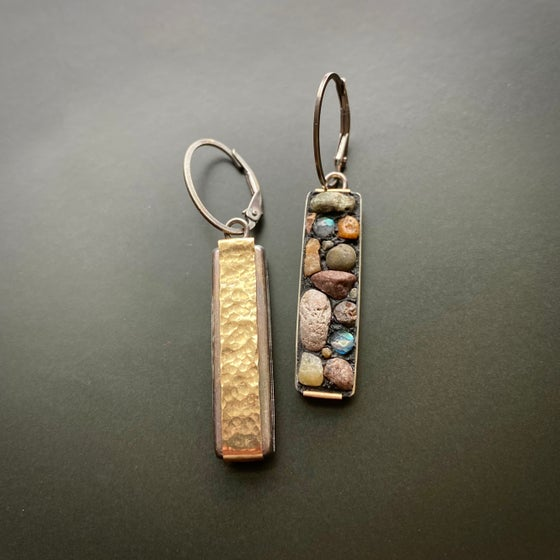 Image of Snake River Rock Earrings, reversible