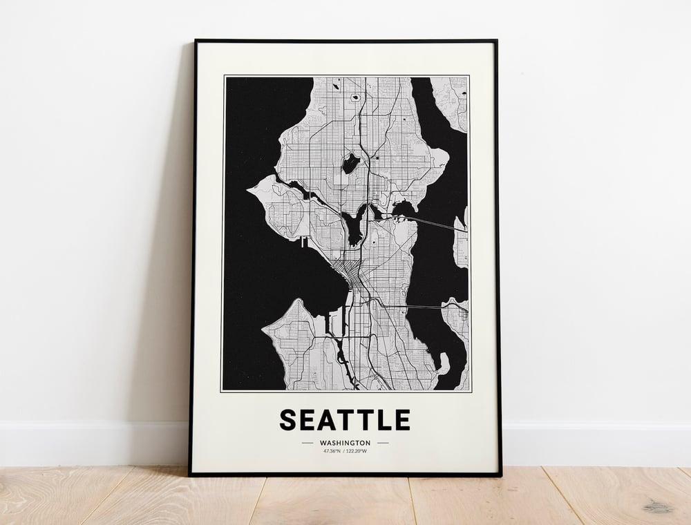 Seattle Map - Minimalist Modern Black and White USA City Map Poster