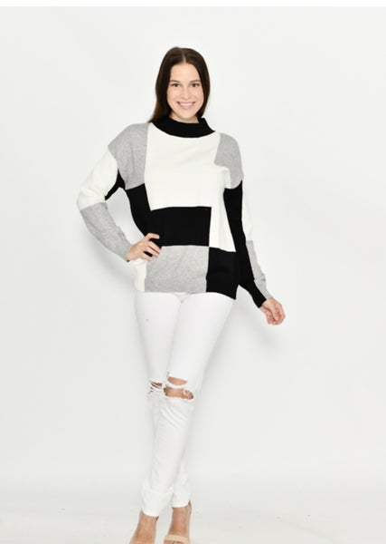 Image of Paige Geometric Black/ White jumper