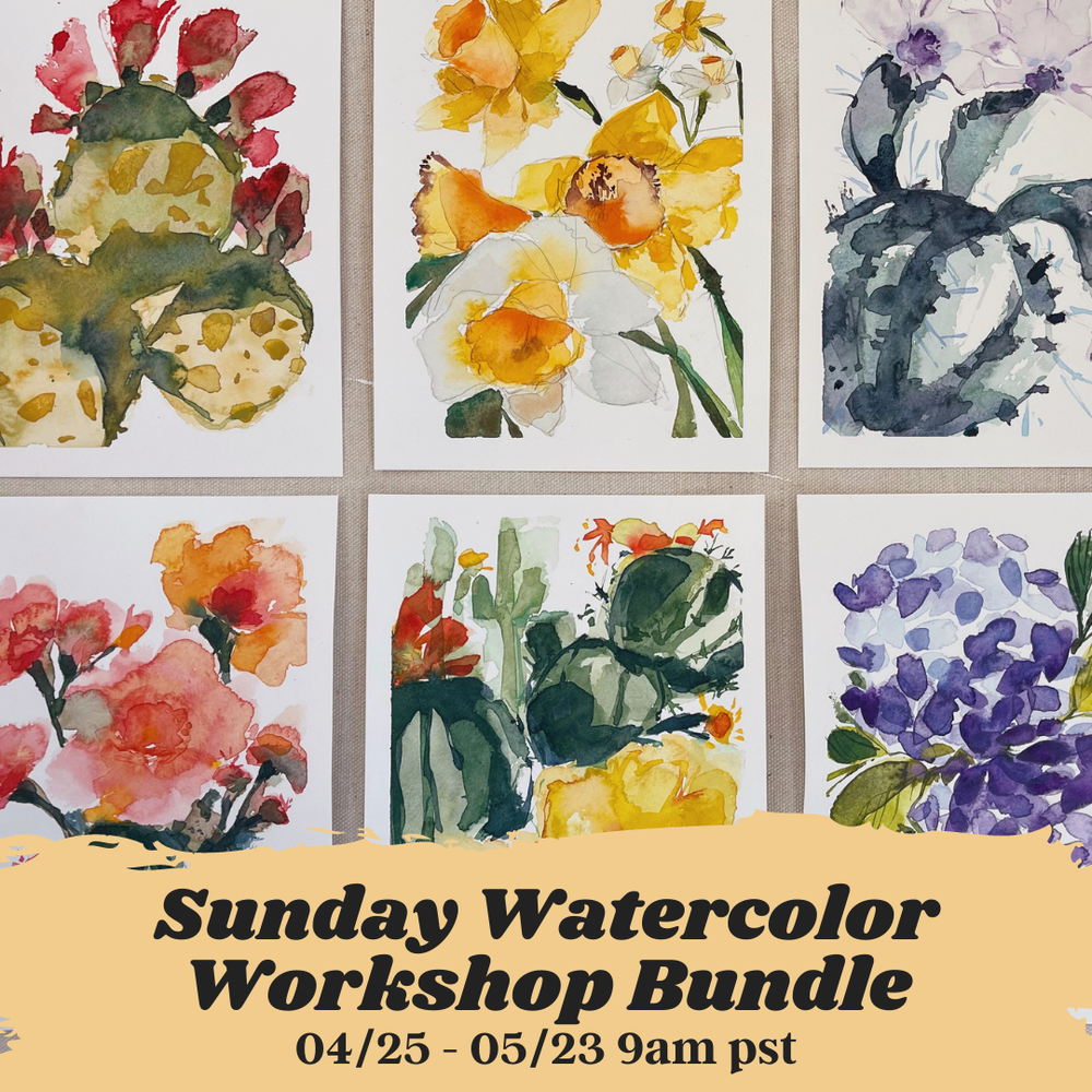Image of Watercolors Florals + Botanicals Workshop Bundle