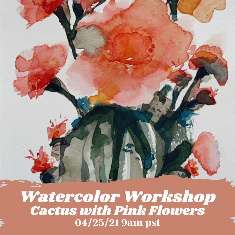 Image of Learn How to Paint Watercolor Cactus with Pink Flowers
