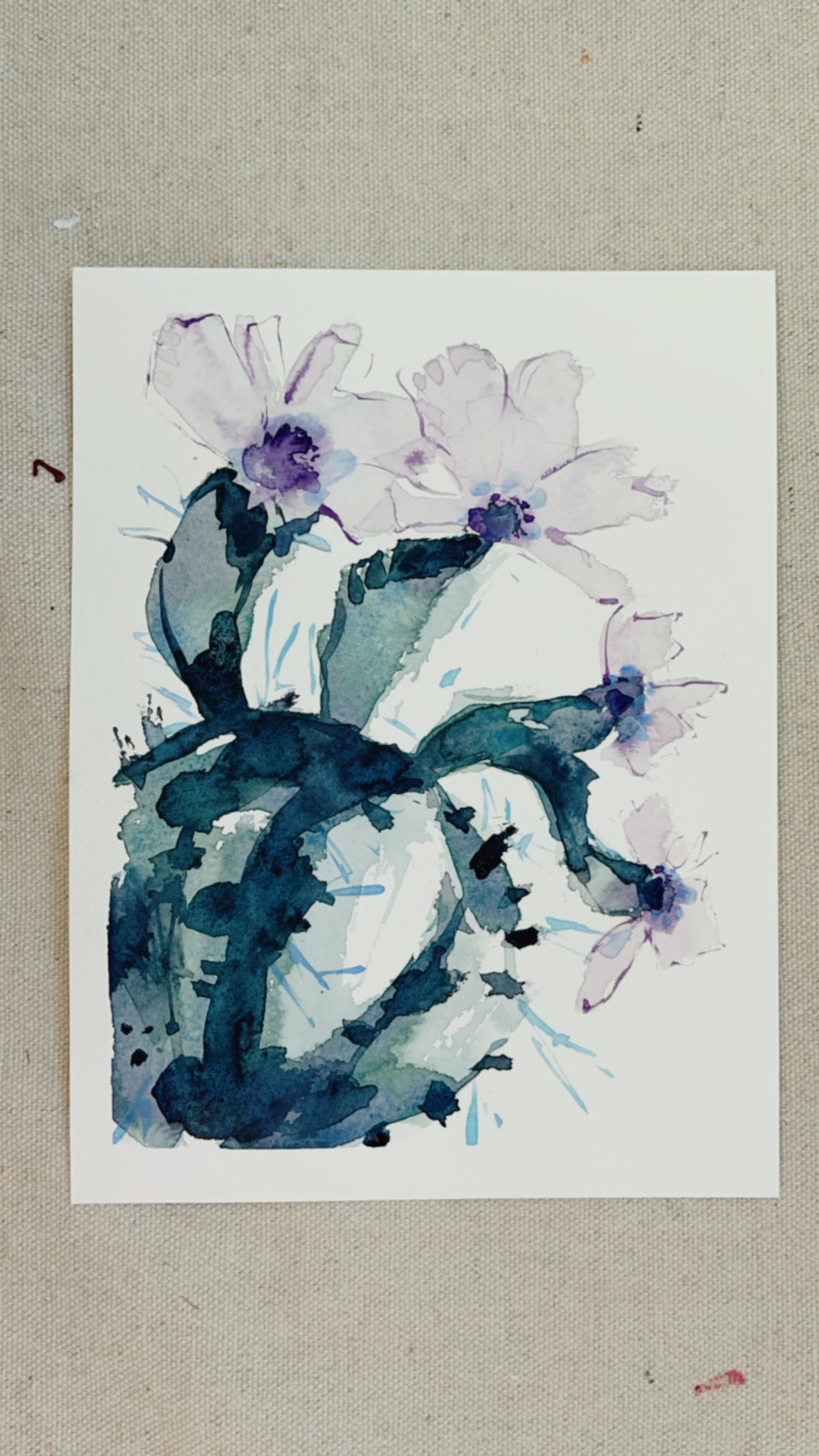 Image of Learn How to Paint A Watercolor Cactus with Purple Flowers