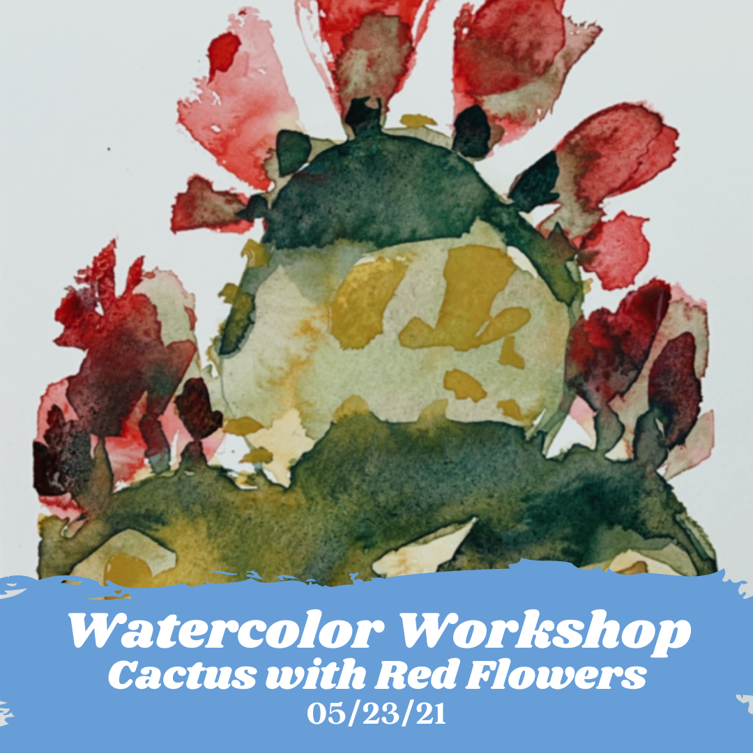 Image of Learn How to Paint A Watercolor Cactus with Red Flowers