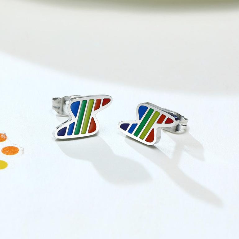 Rainbow Lightning Bolt Silver Pendant & Chain