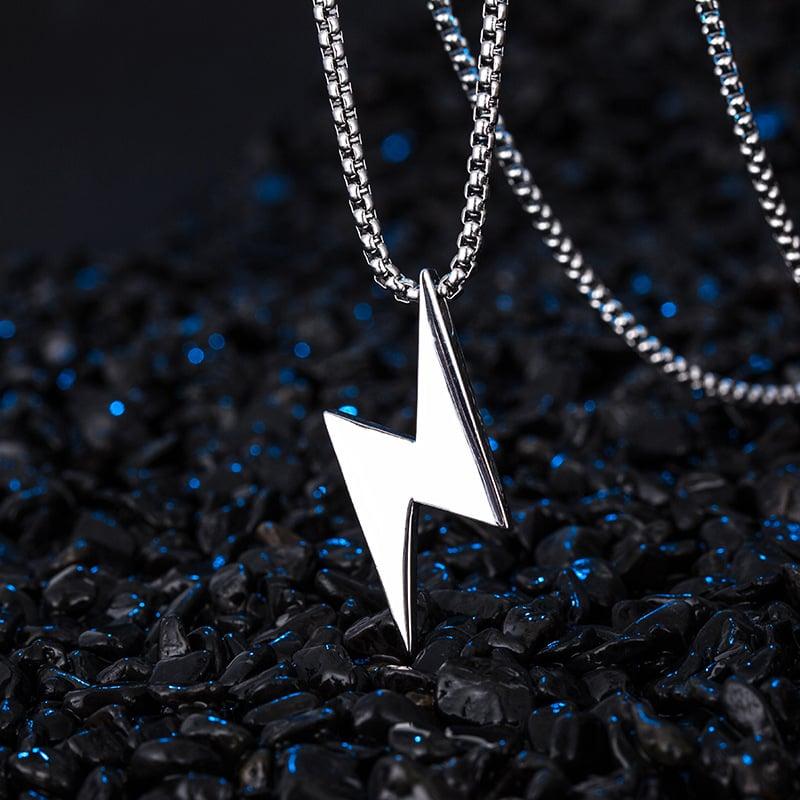 Heavy Lightning Bolt Silver Pendant & Chain