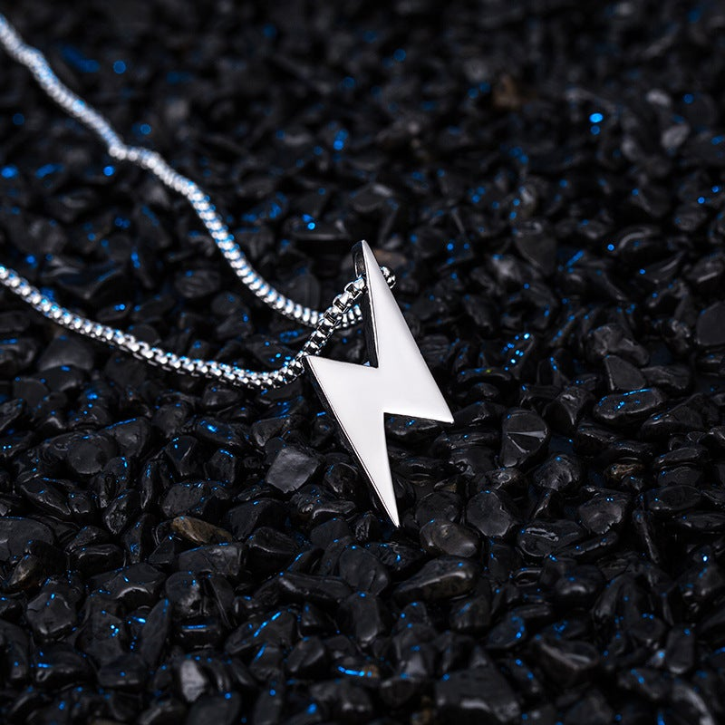 Heavy Lightning Bolt Silver Pendant & Chain
