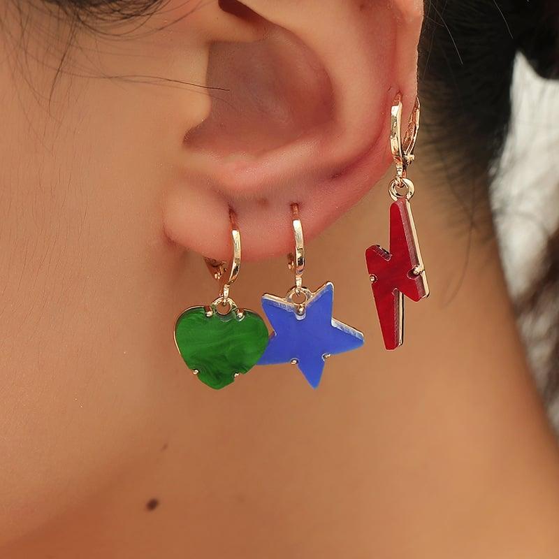 Red Acrylic Lightning Bolt Fashion Earrings