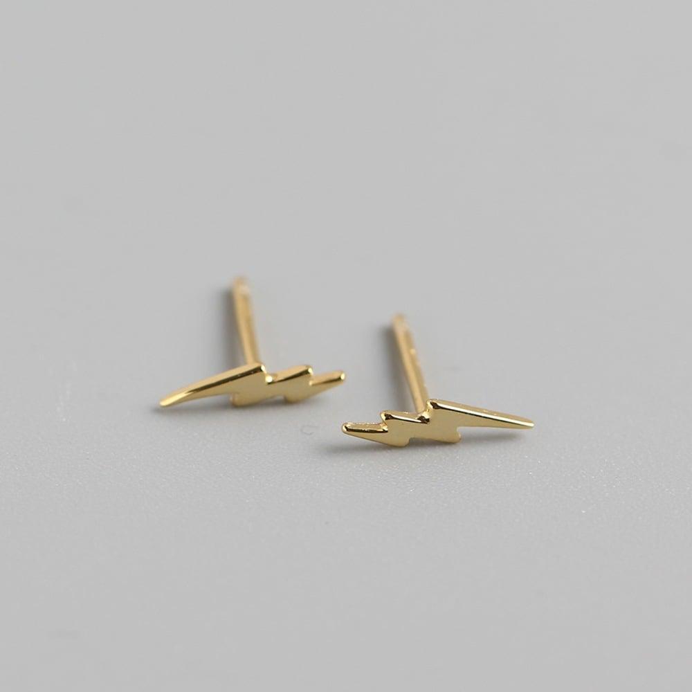 Lightning Jagged Bolt Earrings (Silver or Gold)