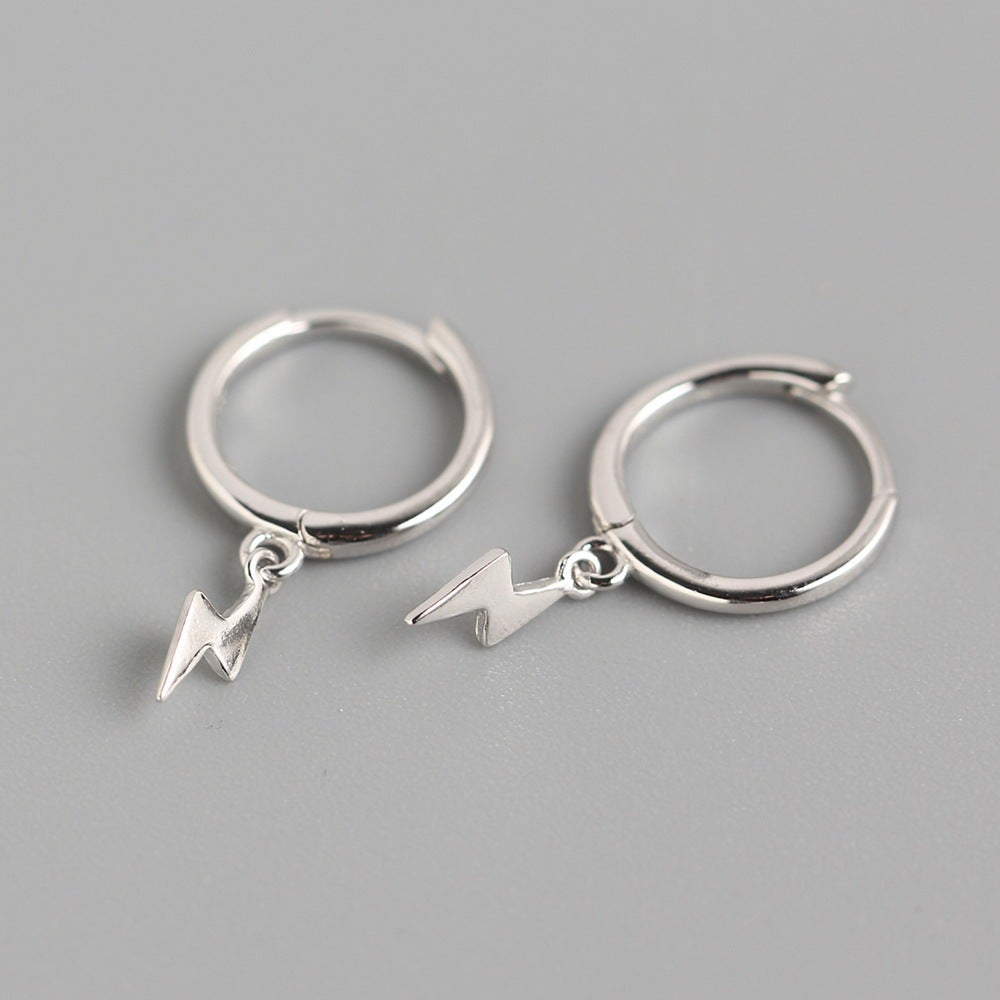 Lightning Bolt Droop Hoop Earrings (Silver 925)