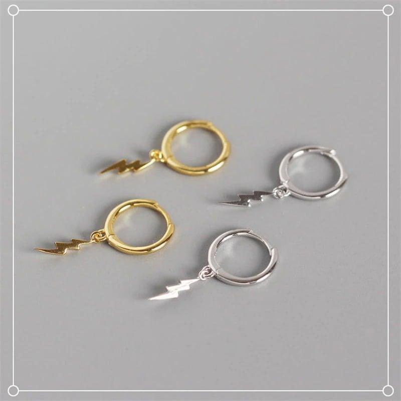 Lightning Jagged Bolt Droop Hoop Earrings (Silver 925)