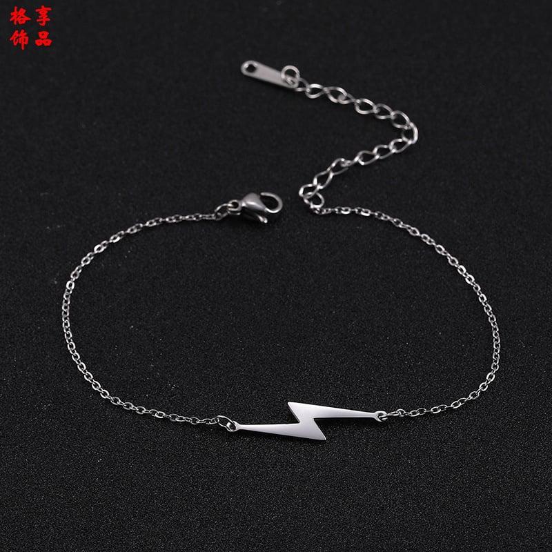 Stainless Steel Lightning Bolt Bracelet (Silver)
