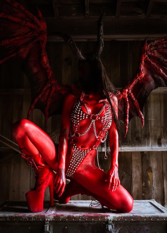 Image of Toxic Vision El Diablo studded bodysuit