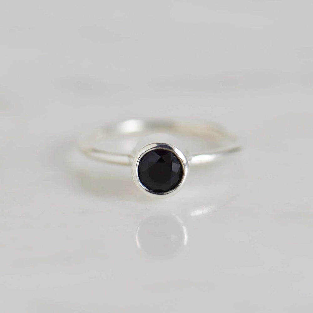 Image of Natural Dark Blue Sapphire star cut classic silver ring