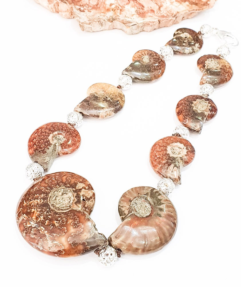 Image of Fossil Ammonite and Electroplated Lava Necklace