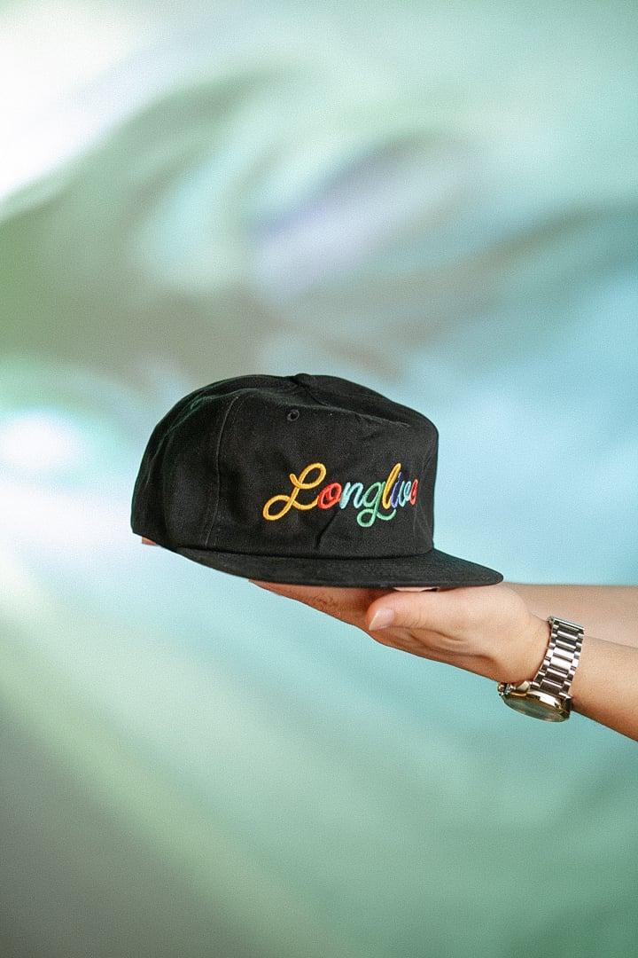Image of Black Long Live Noodle Strap Back Hat