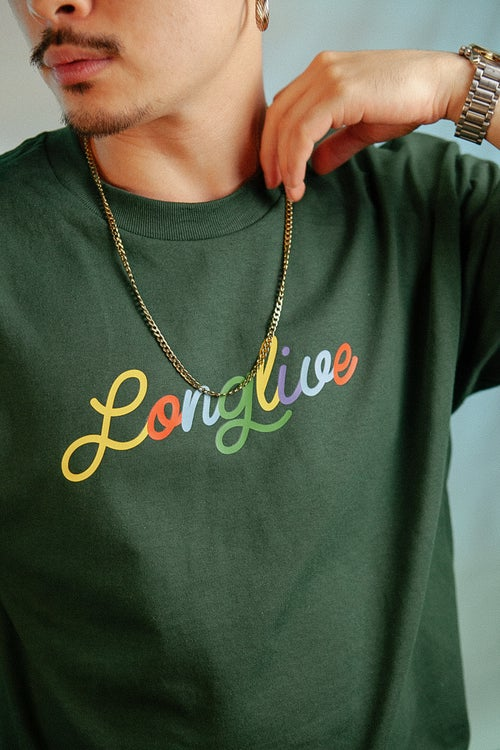 Image of Forest Green Long Live Noodle Tee