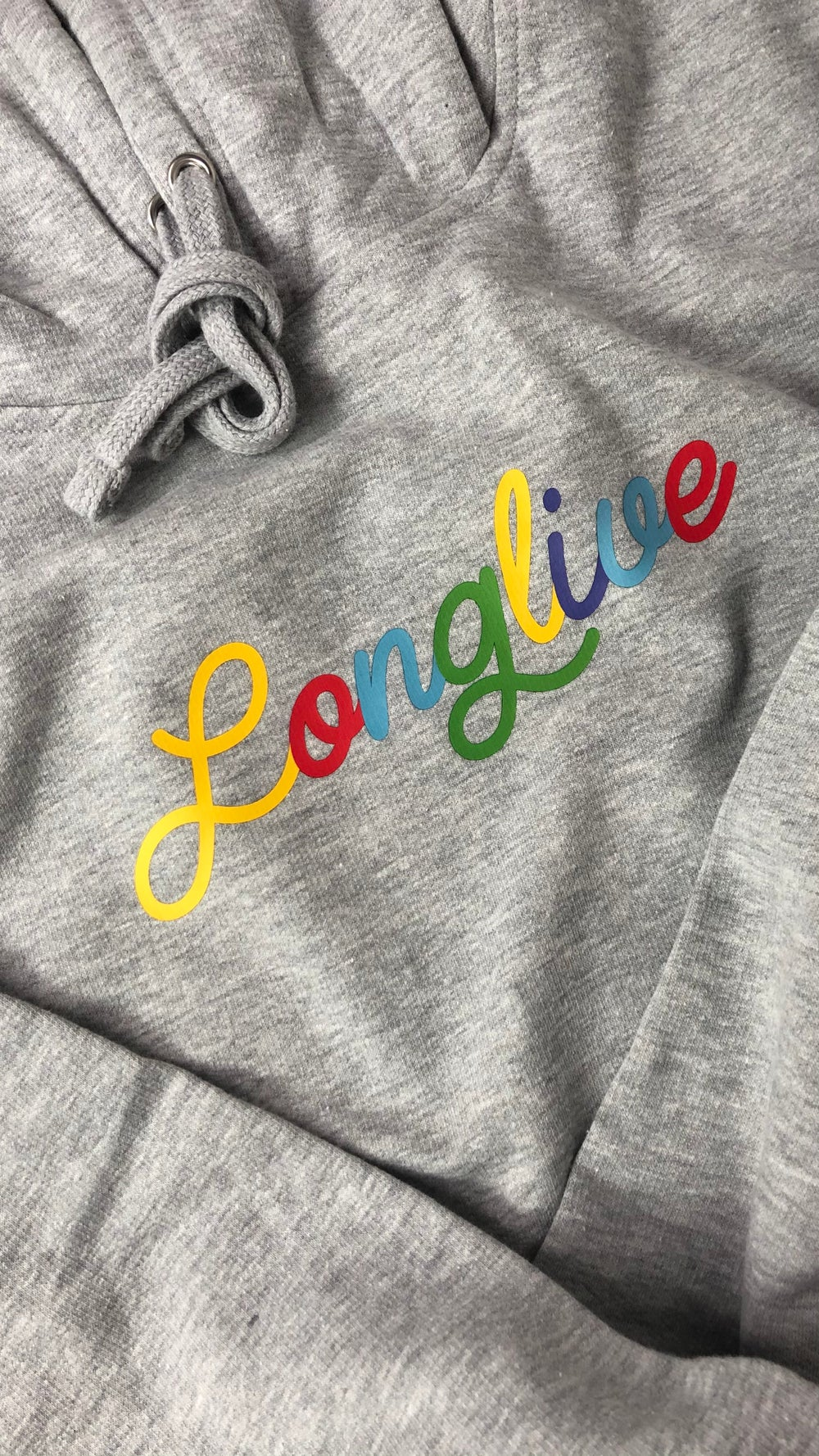 Image of Athletic Heather Long Live Noodle Pull Over Hoodie