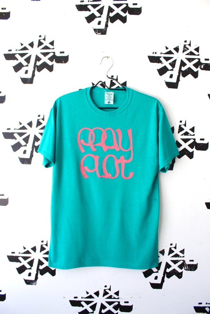 Image of stick to the script tee in teal