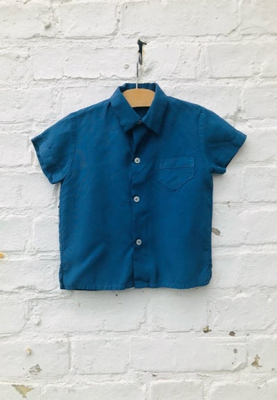 Image of Indigo blue over-dyed short sleeved shirt. Age 1-2yrs.