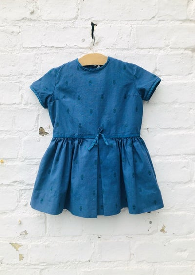 Image of Indigo blue, over-dyed cotton dress. Age 2-3yrs.