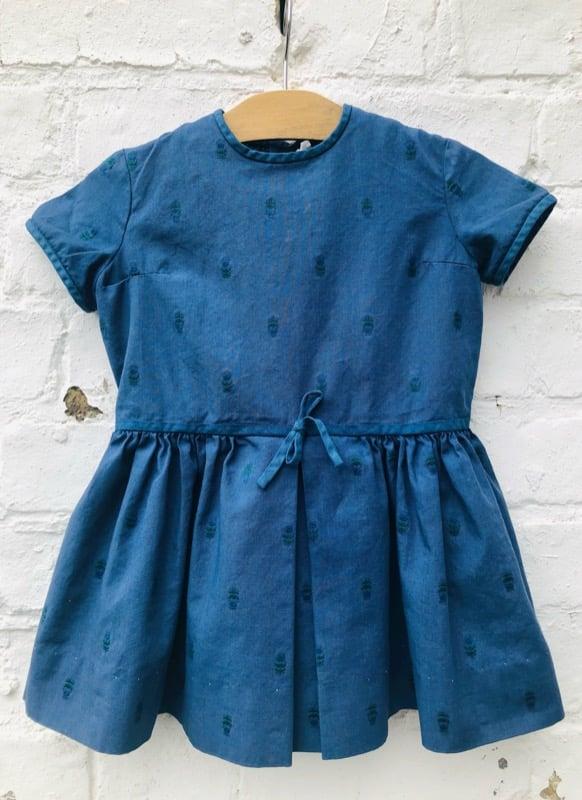Image of Indigo blue, over-dyed cotton dress. Age 2-3yrs.