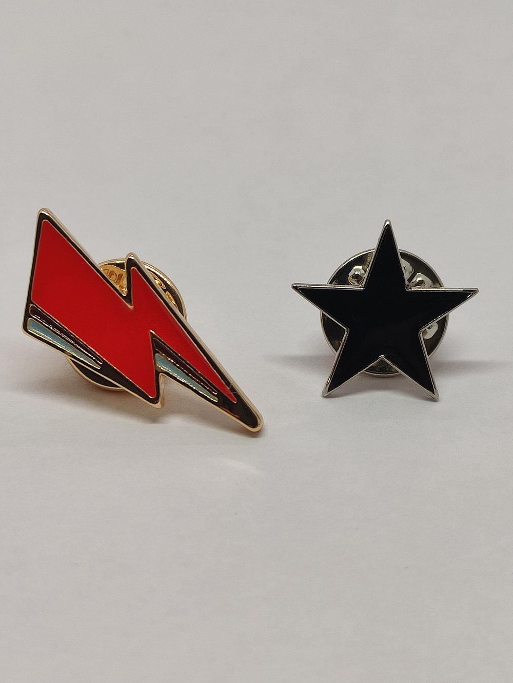 Blackstar and Lightning Bolt Badge Set