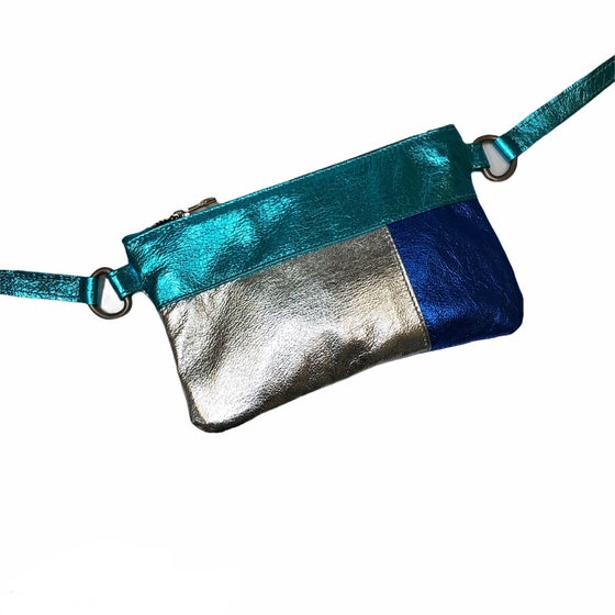 Image of Colour Block Mini Chelsea Crossbody - blues/silver