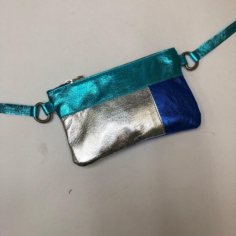 Image of Colour Block Mini Chelsea Crossbody - blues/silver