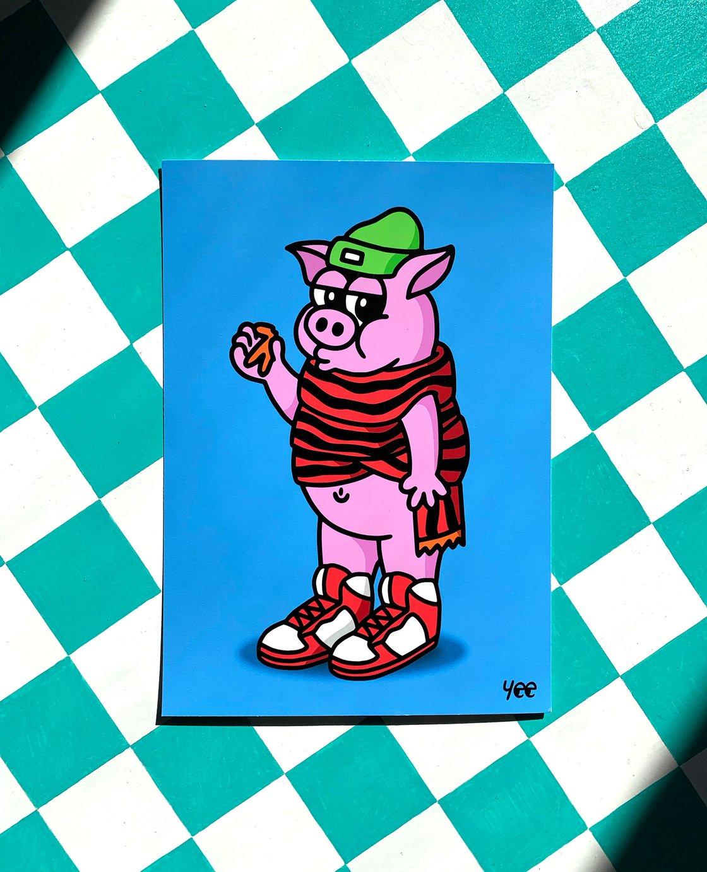Image of Pig In Blanket — A5 Giclée art print