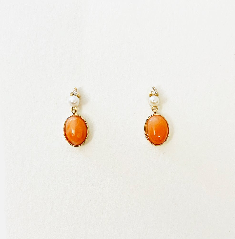 Image of Victorian Coral Drop Earring