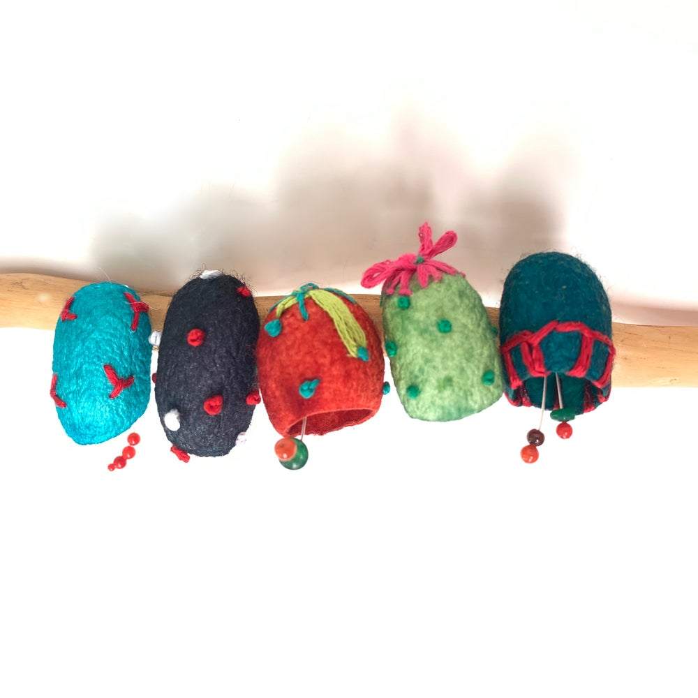 Embroidered Silk Cocoon pins