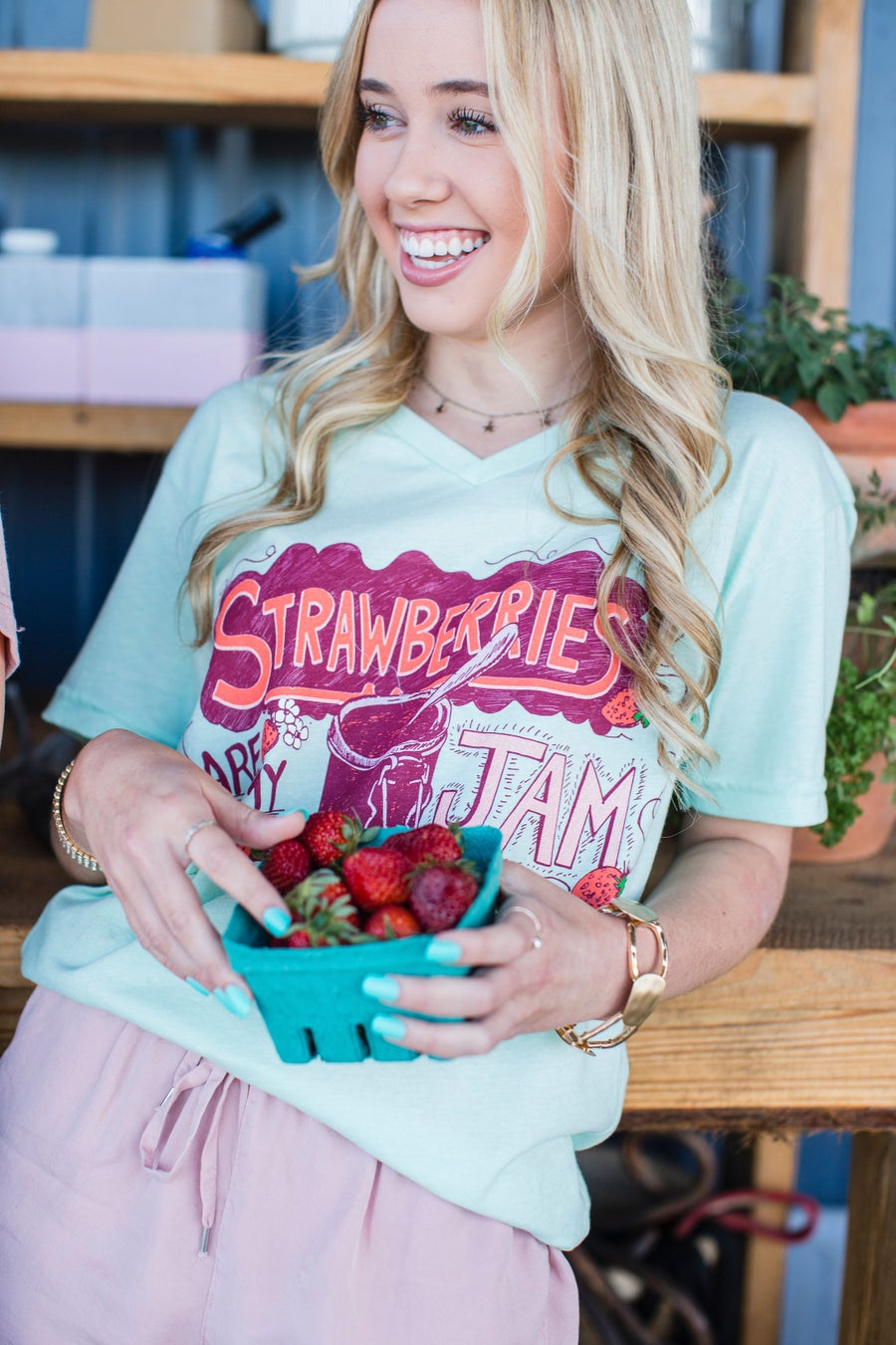 Image of Adult Mint Green Strawberry Jam V neck
