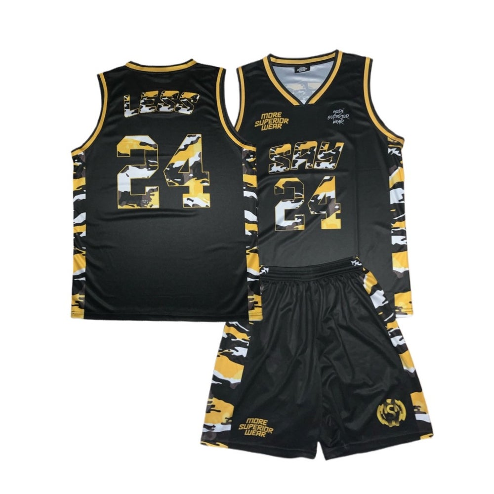 MSW tiger camo 'Say Less' basketball jersey & shorts