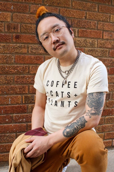 Image of Coffee Cats Plants T Shirt in Cream