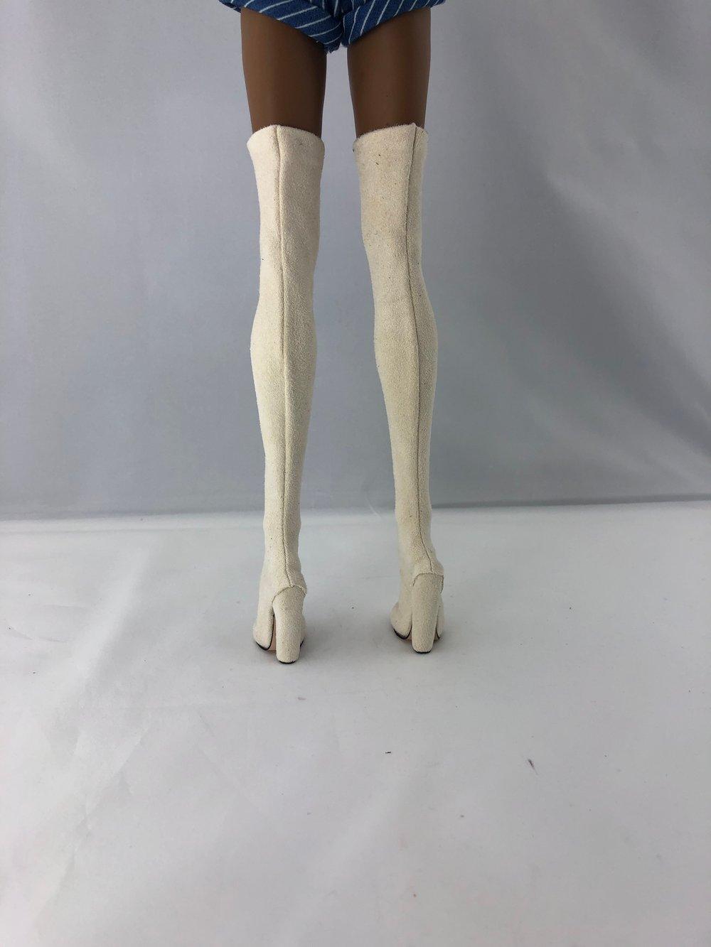 Cream Suede Thigh High Boots: Pidgin Doll