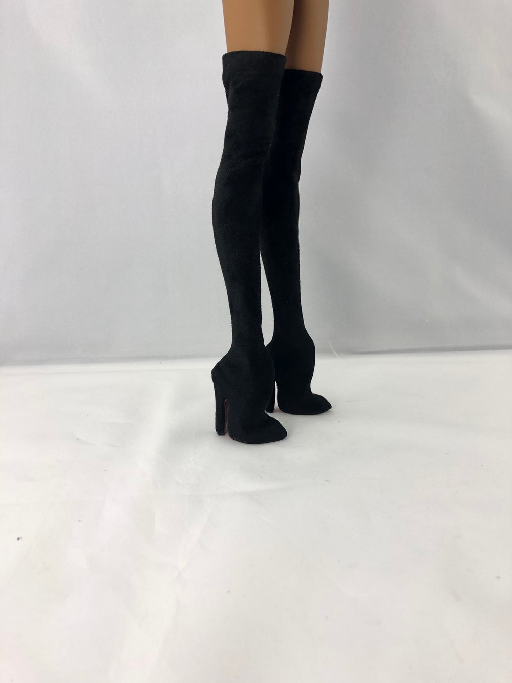 Black Suede Thigh High Boots: Pidgin Doll