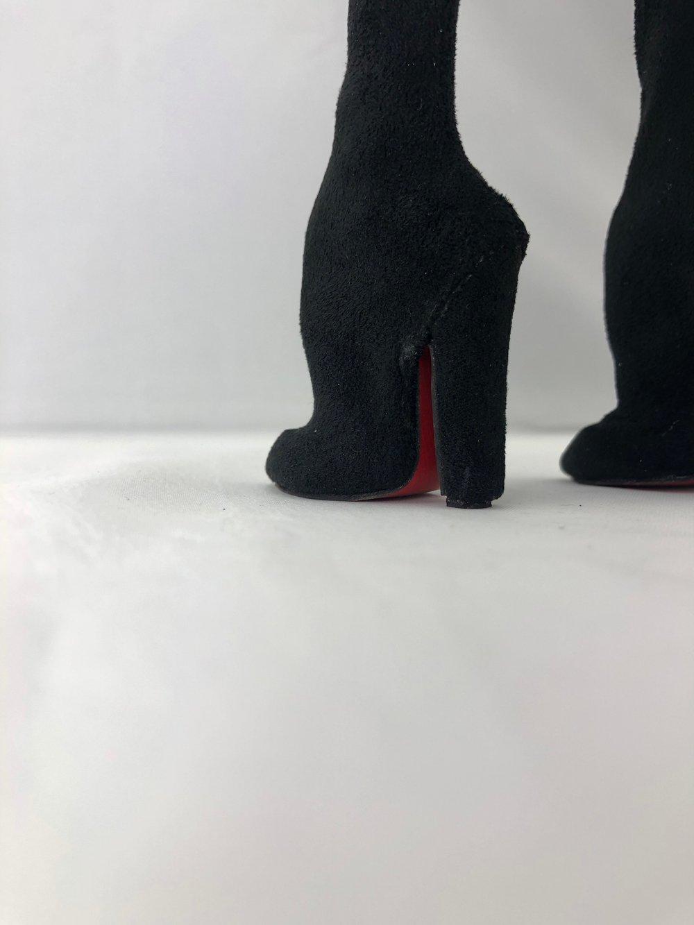Black Suede Thigh High Boots: Pidgin Doll
