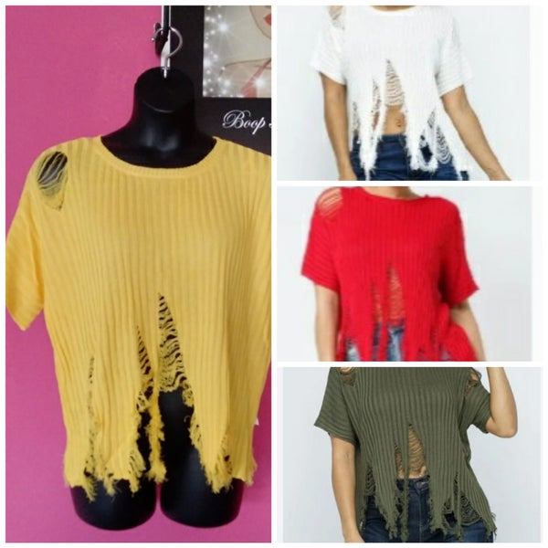 Image of  DISTRESSED SWEATER TOP Red White Olive Yellow