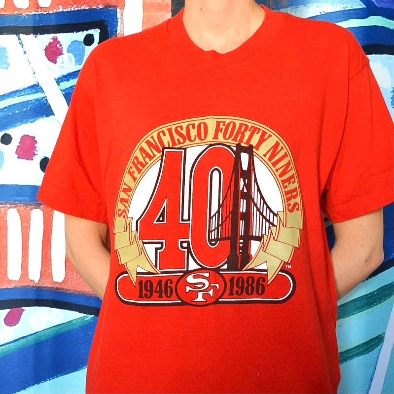 Image of Vintage 1986 San Francisco 49ers 40 Year Anniversary T-Shirt Sz.L