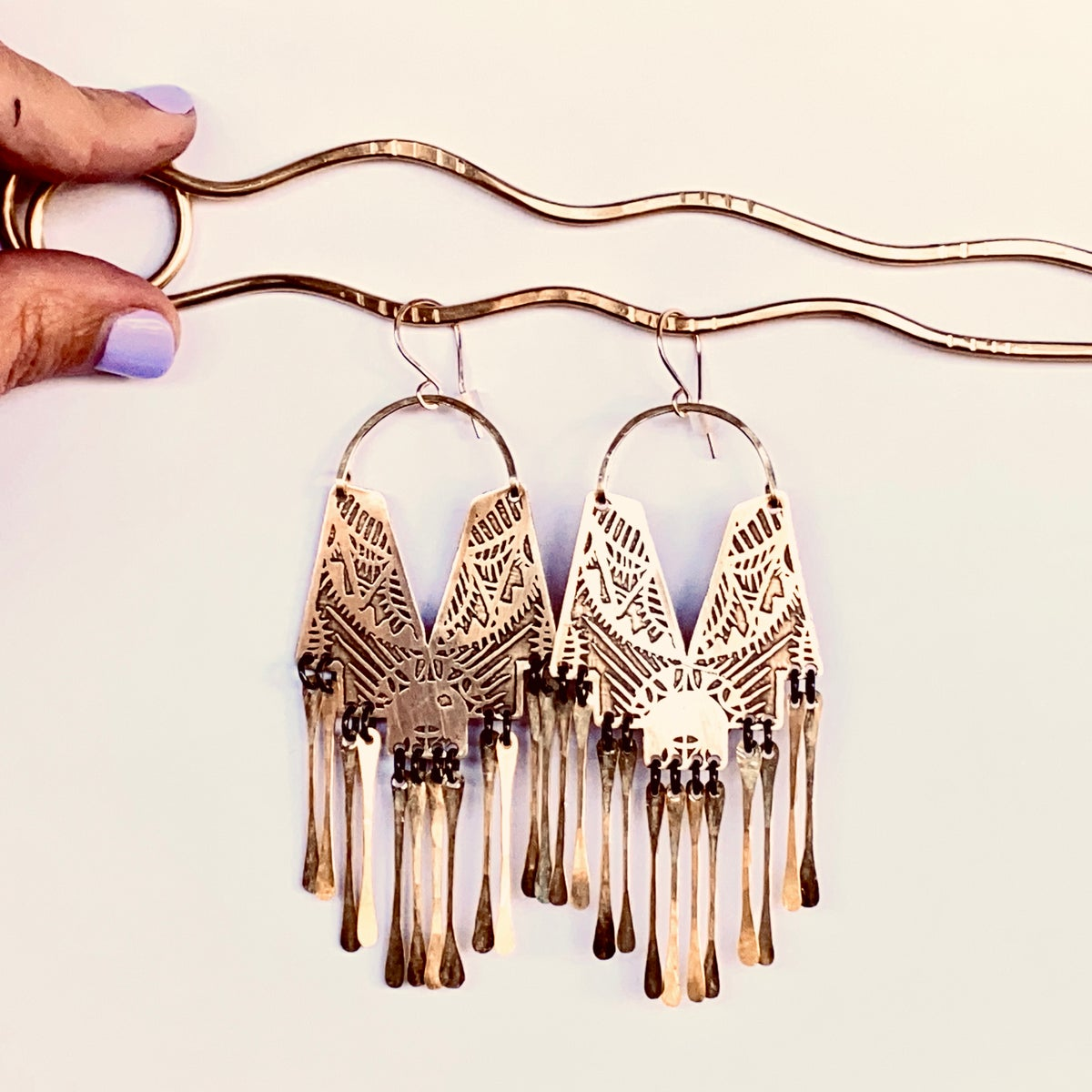 Image of Adorn Earrings w Brass Tassels
