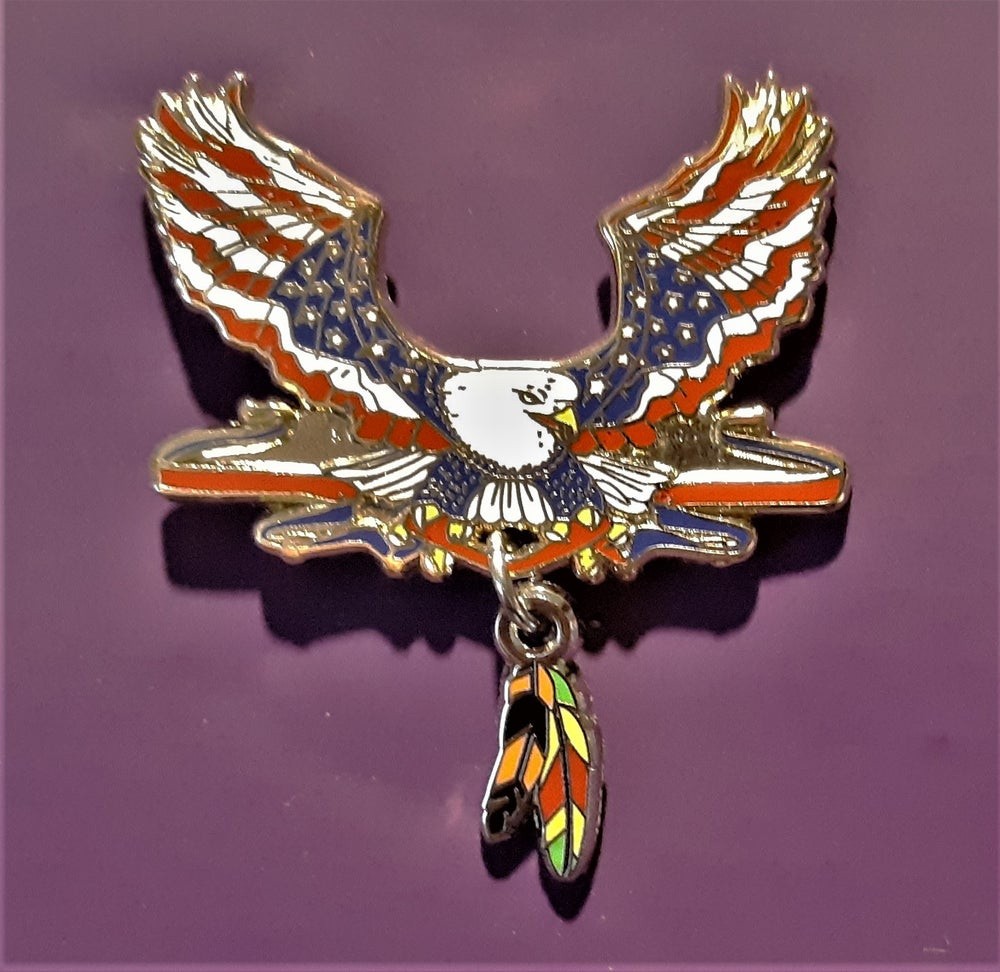 Image of Vietnam Veteran Patriotic Eagle 2 Feathers Pin
