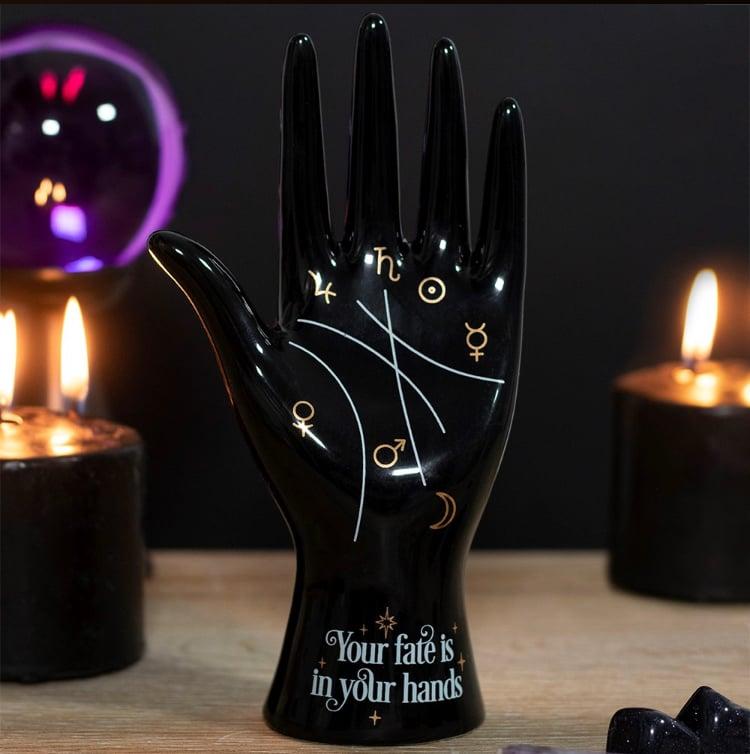 Image of Black Ceramic Palmistry Ornament