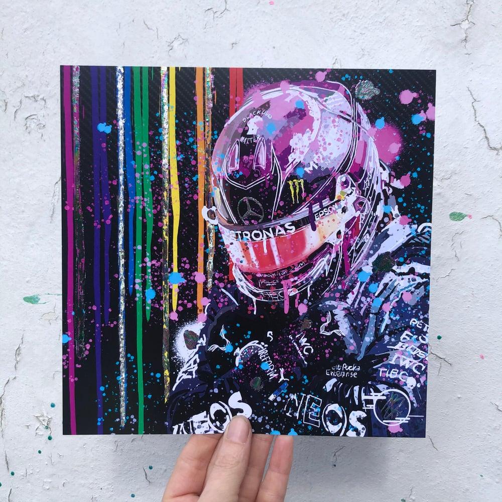Image of Lewis Hamilton foil print