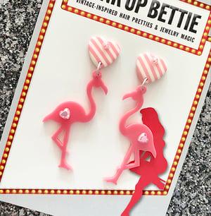 Image of Flamingo Sweetheart Stripes Earrings - Pink