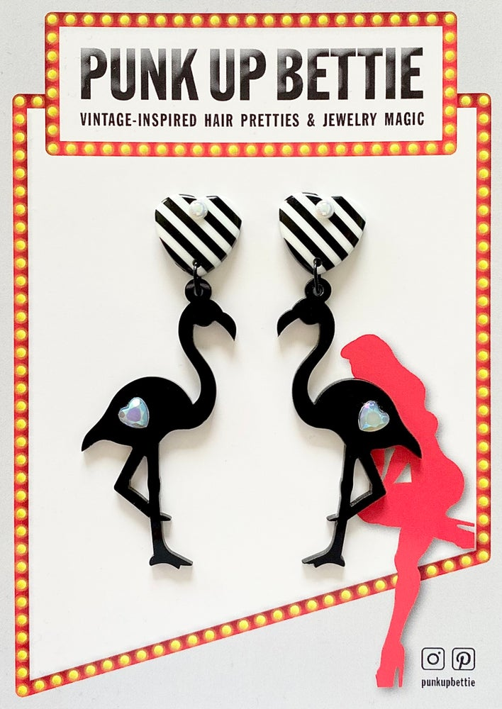 Image of Flamingo Sweetheart Stripes Earrings - Black