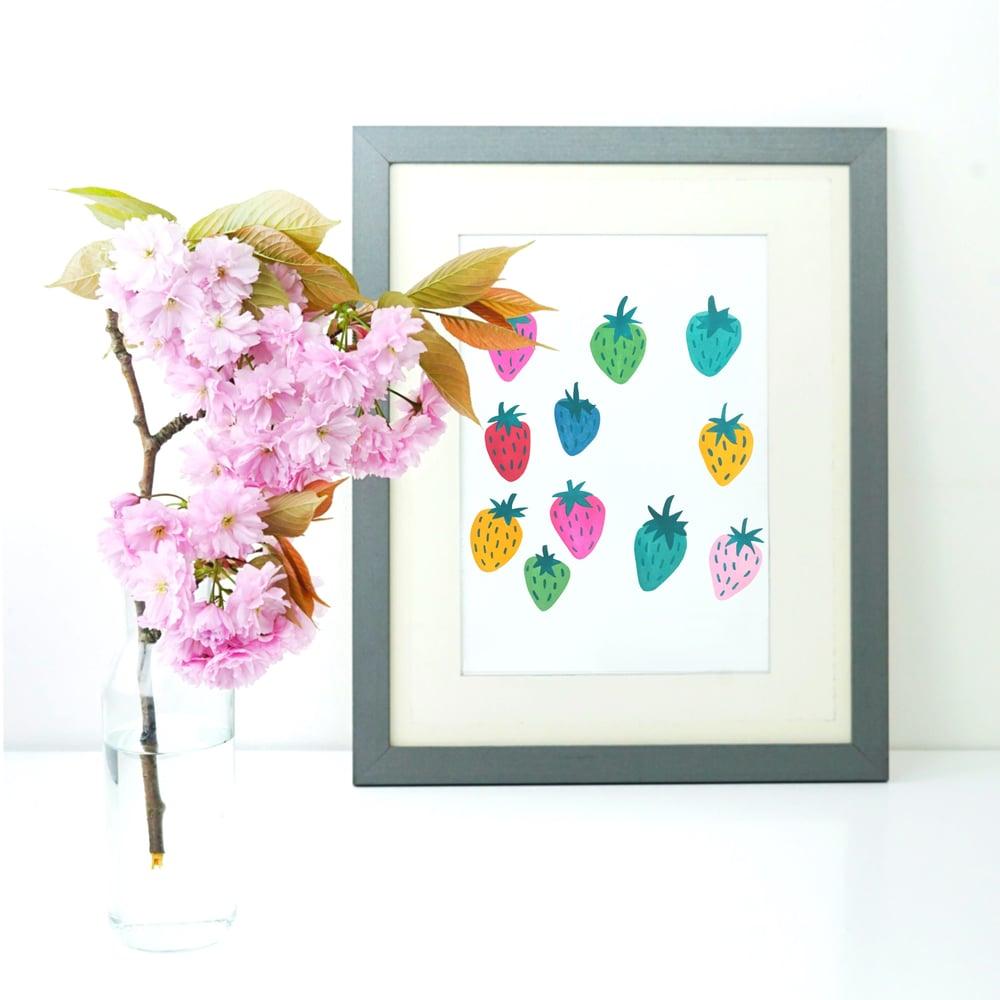 Image of Rainbow Strawberries print