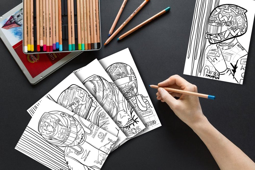 Image of 5 x Driver colouring pages