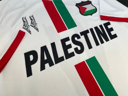 Image of Palestine White Centre Striped (Red/Green English) Football Shirt