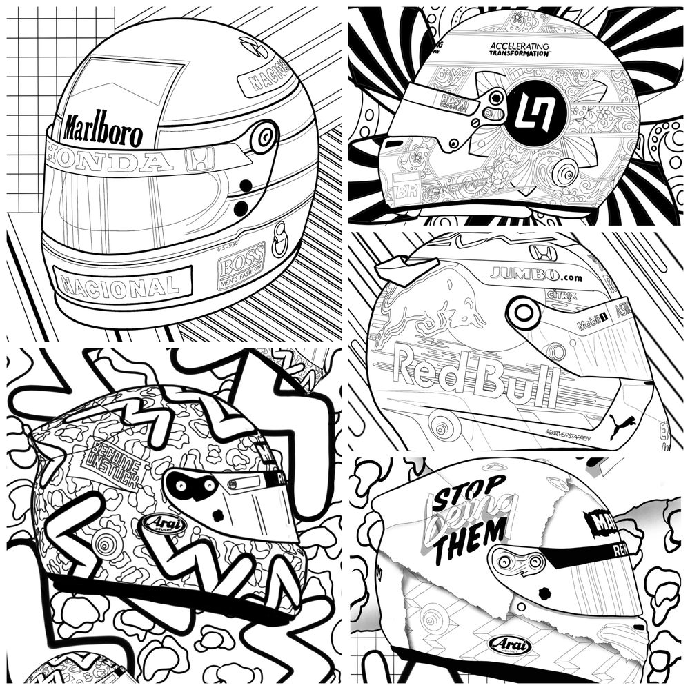 Image of 5 x Helmet  colouring pages