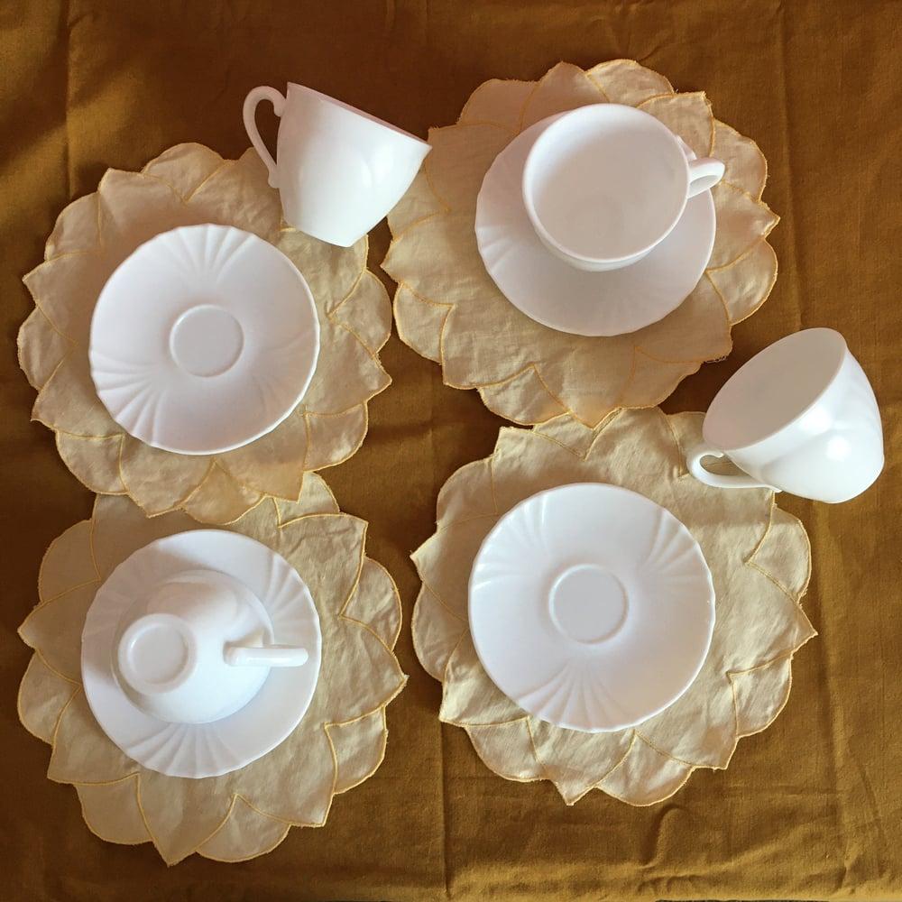 Image of Milk glass teacup set of four